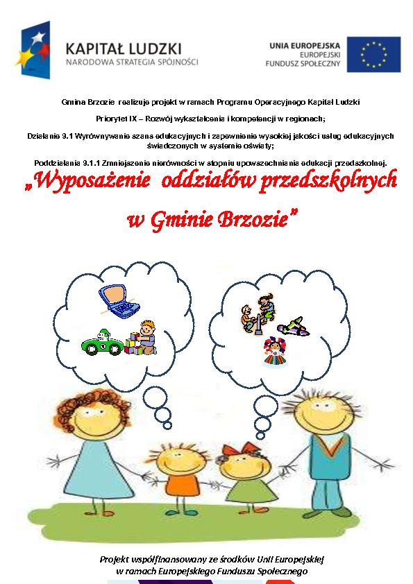 przedszkola 1 plakat pdf - Wyposażenie oddziałów przedszkolnych w Gminie Brzozie